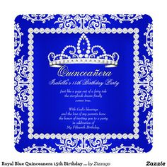 Royal Blue Damask Pearl Bow Quinceanera Invite Royal Blue