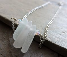 Pointy Minimalist Genuine Stacked Clear Seaglass/ Mermaid Tears Wrapped with Sterling Silver and Swarovski  in a Stainless Steel Necklace by IsamarML on Etsy