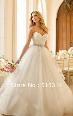 Custom Made 2014 New Princess Sweetheart Tulle Sashes Elegant Wedding Dresses vestido de noiva Plus Size Free Shipping ST12-in Wedding Dress...