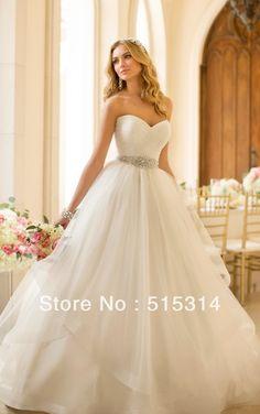 Custom Made 2014 New Princess Sweetheart Tulle Sashes Elegant Wedding Dresses vestido de noiva Plus Size Free Shipping ST12