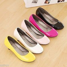 Women's Synthetic Leather Kitten Mid Heel Pumps Round Toe Shoes US All Size S044