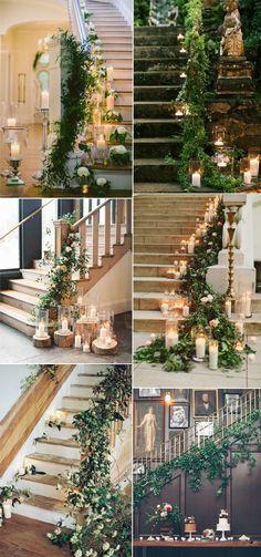 greenery wedding staircase decoration ideas 2017