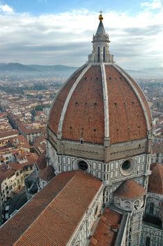 Brunelleschi's dome of Florence Cathedral. known as 'il Duomo', the church is Santa Maria del Fiore: The dome (1420-36), the lantern (built 1446–ca.1461) and the exedra (built 1439-1445)
