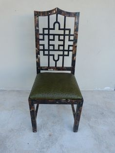 70'S CHINESE CHIPPENDALE TESSELLATED HORN CHAIR W OSTRICH LEATHER KARL SPRINGER in Antiques,…