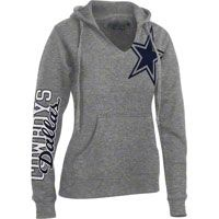 Dallas Cowboys Women's Grey Jersey Notch Halle Hooded Sweatshirt I need this.