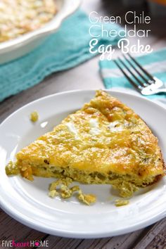 Green Chile Cheddar Egg Bake ~ this flavorful crustless quiche is a quick, easy breakfast that's perfect for serving to overnight houseguests or hungry family members any morning of the week | FiveHeartHome.com