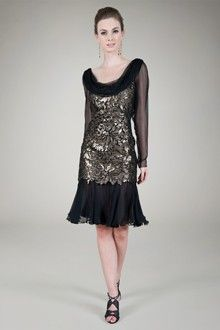 Paillette Embroidered Lace and Chiffon Cocktail Dress in Black / Gold#GiftofTadashiShoji