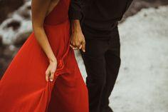 Big Sur Wedding Engagement Photographer  IsaiahAndTaylor.com  California Wedding Photographers, Husband & Wife Wedding Photography Team, Los Angeles Wedding Photographer, Big Sur Wedding Photographer, Cliffside Beach engagement, formal bright red long dress