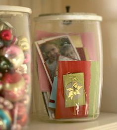 Cards displayed in jar