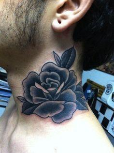 rose on neck by Manoel Neto, Maneko, Brazil   rose tattoos for men