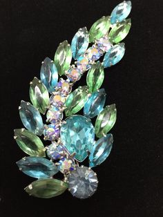 Weiss Brooch Blue Green AB Navette Rhinestone Prong Set Open Back Large Signed #Weiss