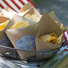Make these easy kraft bags to hold party chips or other snacks. Easy to follow tutorial.