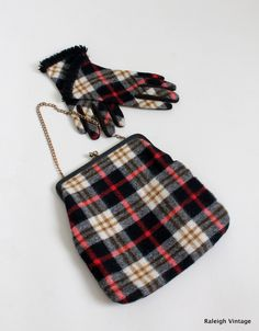Vintage 1960s Wool Plaid Handbag with Matching Gloves via Etsy.