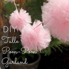 DIY Tulle Pom Pom Garland for a bridal shower or a playful wedding #wedding #decor #DIY decorations!