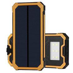 15ooo mAh Solar Power Bank, Solar Ladeger�t mit Dual USB Schnittstelle, Externe Akku f�r iPhone, Android-Handys, andere Smartphones sowie elektronische Ger�te und auch iPad oder andere Tablet PC (gelb)