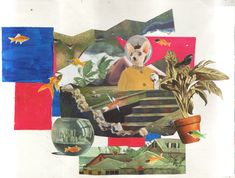 collage, sueños, gato, pez, dada
