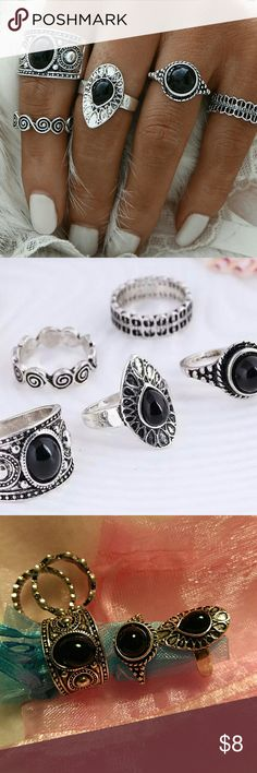 🌺🌺  Boho Rings🌺🌺Only one set left! 5 Boho rings, antique silver tone, with black stones. You can wear these as a set or individually.  Brand new never worn. Na Jewelry Rings
