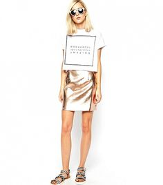 29 Reasons You Don't Have To Be Rich To Have Style via @WhoWhatWear River Island Copper mini skirt $57