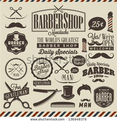 Collection of vintage retro grunge barber shop labels by Noka Studio, via ShutterStock