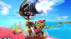 3/5/14•Wii U•Official•So far, which attack can blast away enemies the most dynamically… Is it King Dedede's fully charged Jet Hammer? Nah, it can't beat the K.O. uppercut. You can damage yourself by overcharging this attack, so watch out
