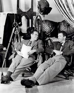 Frank Capra and James Stewart on set of It's a Wonderful Life, 1946.