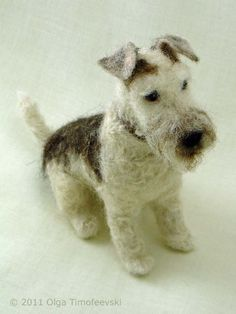 Arnold the Fox Terrier needle felted by Olga Timofeevski