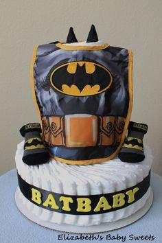 Batbaby  boy diaper cake by Elizabethsbabysweets on Etsy, $55.00