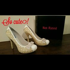 """Not Rated Prim Rose polka dot heel Pair these adorable 4"""" beige heels with white polka dots, leather scalloped trim on heel, sides and toe with complementing beige and white striped toe bow with a dress and jacket from my closet! Only wore them around store (obviously on VERY dirty carpet!) Not Rated Shoes Heels"""