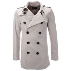 Mens Designer Double-Breasted Trench Coat (CT301) - FLATSEVEN Official Online Store