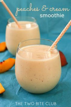 Peaches and Cream Smoothies, made with simple and healthy ingredients, are cool, creamy, and bursting with fresh peach flavor. Peaches And Cream Smoothie Recipe, Peach Smoothie Recipes, Yogurt Smoothies, Healthy Breakfast Smoothies, Strawberry Smoothie, Juice Smoothie, Smoothie Drinks, Healthy Peach Smoothie, Peach Banana Smoothie