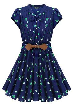 Blue Short Sleeve Apple Print Bandeau Pleated Dress - Sheinside.com