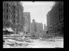 Construcción del tercer tramo de la Gran Vía. Autor de la fotografía: Gerardo Contreras. Año 1929.