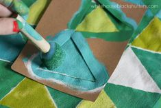 Color Blocked Triangle Tote Bag created with Handmade Charlotte stencils and FolkArt paints