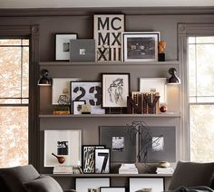 Grey Linen & Silver Frames from Pottery Barn. Gorgeous wall gallery styling