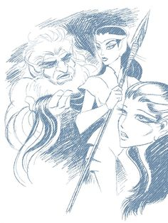 Two-Edge, Venka and Aroree from Elfquest.  Art by Wendy Pini.