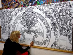 Giant Colouring-in being #handmade for the Alzheimer's Society #MemoryWalk campaign. Giant, illustration, painting, black and white, tree, walking, artist, studio, creative, design, charity, events, ideas