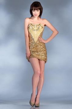 PRIMA C1314 Gold Sequin Cocktail Dress