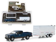 - Brand new 1:64 scale car model of 2016 Ford F-150 Pickup Truck and Dump Trailer Hitch & Tow Series 12 die cast car model by Greenlight. - Metal body. - Limited edition. - Diecast chassis. - Rear rubber tires. - Detailed interior, exterior. - Comes in a blister pack. - Officially licensed product. - Dimensions approximately L-7 inches long. - All trailers come with corkscrew jacks for stand-alone display. - Functional dump, sidewall extension, opening rear doors, stowaway ramps.