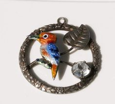 Victorian English Silver Round Bird on a Branch Brooch with Guilloche Enamel