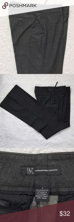 "INC pants NWOT. Rise 8.5"" inseam 33"" waist 32. 62% polyester 33% rayon 5% spandex. Color is between black and dark grey 🌷 INC International Concepts Pants Trousers"