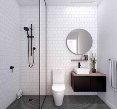 Modern Small Bathroom Design The Basic Components of Modern Bathroom Designs Modern Small Bathroom Design. Incorporating a modern bathroom design will give you a more … Laundry In Bathroom, Master Bathroom, Bathroom Small, Bathroom Black, Basement Bathroom, Small Bathtub, Design Bathroom, Colorful Bathroom, Bathroom Modern