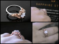 'Prism' 1.25ct Opal and Natural White Diamond White/Yellow/Rose Gold Inspired Sailor Moon Ring