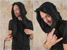 Super soft and comfy Hood with Black Cat Ears for Black Cat Cosplay. The perfect Gothic Clothing as Elf Pixie Hood or Dark Mori Outfits.   The hood is a really nice accessory for every festival. It is a super comfy Pixie Hood with beautiful patchwork stitching. The soft inside velour lining will