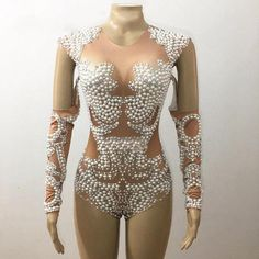 Sparkly Pearls Rhinestones Crystals Leotard One-Piece Nude Stretch Celebrate Outfit Nightclub Female Dj Singer Costume Sexy Wear Drag Queen Costumes, Singer Costumes, Dance Costumes, Drag Queen Outfits, Stage Outfits, Dance Outfits, Dance Dresses, Casual Outfits, Drag Queens
