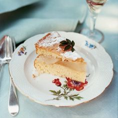 Almond Cake with Pears and Crème Anglaise // More Fruit Desserts: http://www.foodandwine.com/slideshows/fruit-desserts #foodandwine