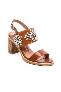 Jeffrey Campbell Dola Embellished Heeled Sandal in Tan