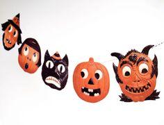 Vintage Halloween Garland, funny German die-cut reproductions, 2D vintage Halloween decor