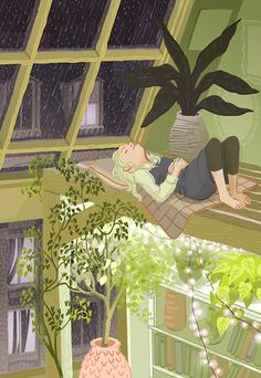Illustration: Resting    This is a piece from my show at Spyhouse Coffee! Come see it in real life!