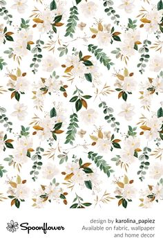 Customize your own home decor, #wallpaper and #fabric at Spoonflower. Shop your favorite indie designs on #fabric, #wallpaper and home decor products on Spoonflower, all printed with #eco-friendly inks and handmade in the United States. #patterndesign #textildesign #pattern #digitalprinting #homedecor #Magnolia Cute Wallpaper Backgrounds, Fabric Wallpaper, Cute Wallpapers, Floral Designs, Botanical Gardens, Watercolor Flowers, Custom Fabric, Magnolia, Spoonflower