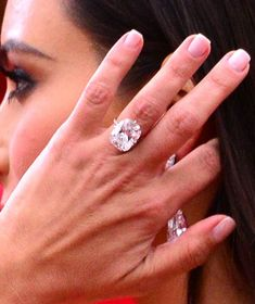 Pin for Later: The Met Gala Is Like the Super Bowl of Accessories Kim Kardashian Kim flashed her megawatt diamond engagement ring on the red carpet. Kim Kardashian Engagement Ring, Celebrity Engagement Rings, Diamond Engagement Rings, Diamond Rings, Stacked Wedding Rings, Wedding Rings For Women, Kim Kardashian Nails, Kardashian Photos, Most Expensive Engagement Ring